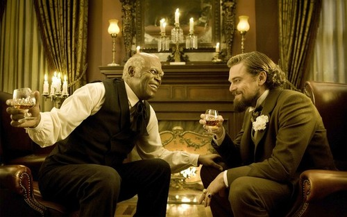 EXCLUSIVE. SNEAKS ISSUE FOR SUNDAY CALENDAR FOR NOVEMBER 4, 2012. DO NOT USE PRIOR TO PUBLICATION********** SAMUEL L. JACKSON and LEONARDO DiCAPRIO star in the movie DJANGO UNCHAINED