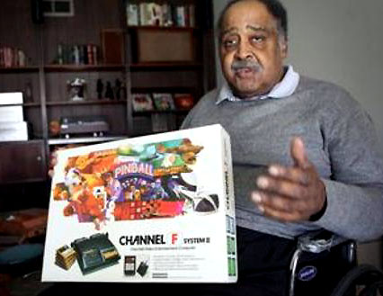 Jerry Lawson is a Silicon Valley pioneer on two fronts with one of the first video consoles created the Channel F, at his home in Santa Clara Tuesday March 1, 2011. Lawson developed the Channel F, the first video game console when he was working at Fairchild in the 1970s, and was among the valley's first black high-tech engineers. This week he was recognized by Blacks in Gaming, and on Friday will be recognized by the International Game Developers Association for his work. (Maria J Avila Lopez/Mercury News)