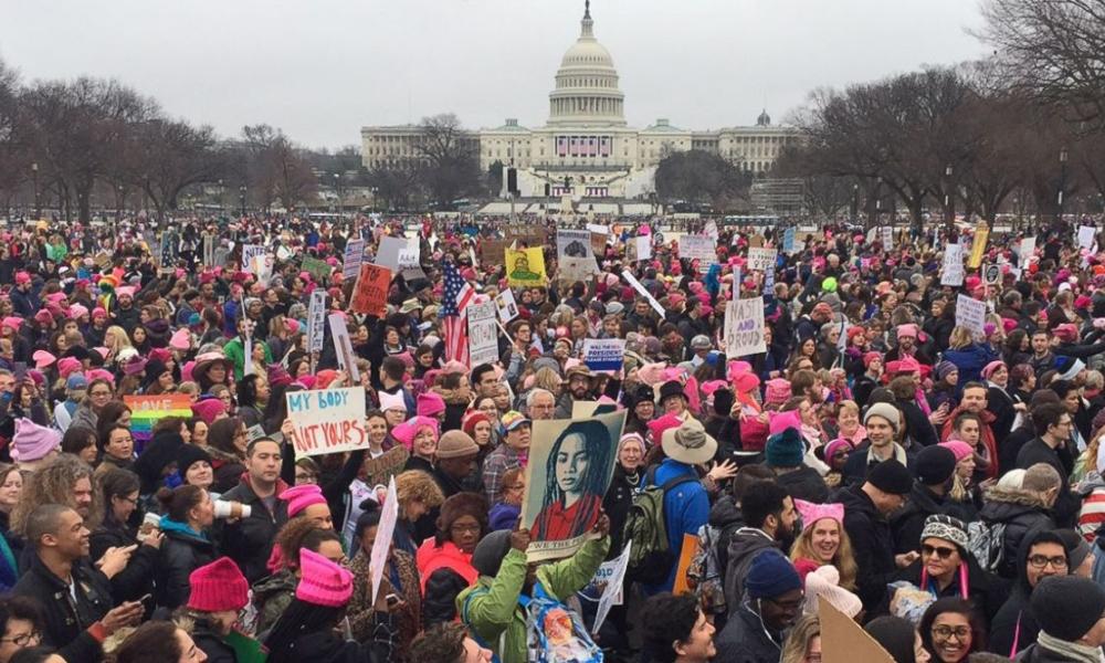 Movimentação da marcha em Washington. Foto: Andrew Caballero-Reynolds/AFP/Getty Images