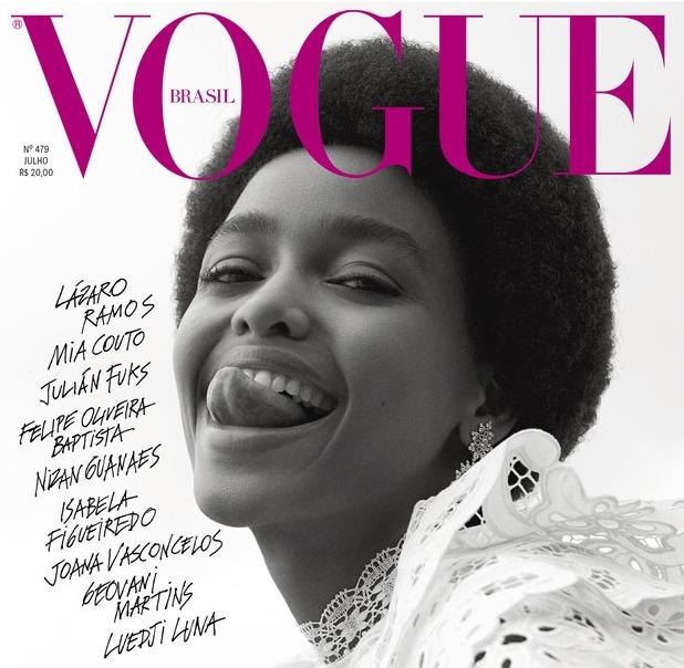 A modelo Blésnya Minher na capa da edição de julho da revista Vogue Brasil b8ee4aa2d6
